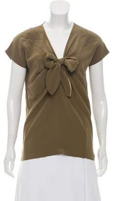 Emilio Pucci Silk Short Sleeve blouse Olive Silk Short Sleeve blouse