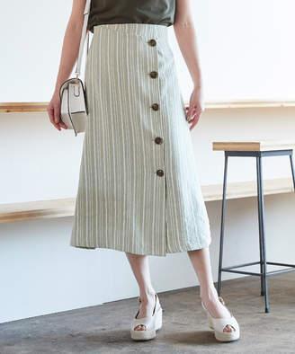 titivate (ティティベイト) - リネンライクストライプラップスカート