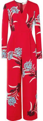 Diane von Furstenberg Wrap-effect Floral-print Crepe Jumpsuit - Red