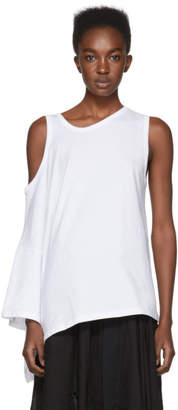 Ann Demeulemeester White Cold Shoulder T-Shirt