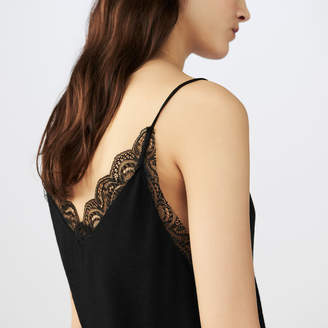 Maje Crepe camisole with lace