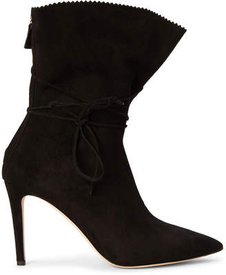 Alexander White Black Camille Ankle-Wrap Suede Booties
