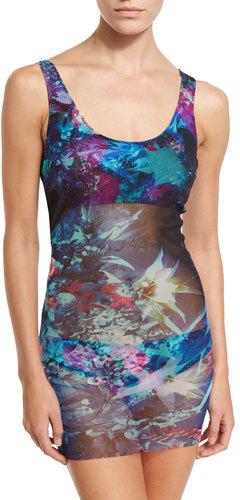 Fuzzi Tropical-Print Two-Piece Tankini Swimsuit, Turquoise