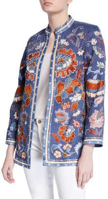 Bella Tu Elsa Hand Embroidered Linen Jacket with Mandarin Collar