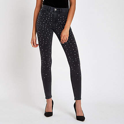 Womens Black Molly diamante embellished jeggings