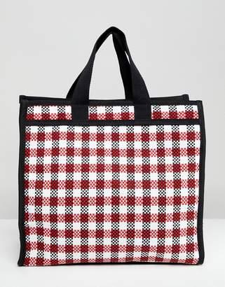 Asos DESIGN Check Shopper Laundry Bag