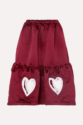 Comme des Garcons Ruffled Cutout Tiered Satin Midi Skirt - Burgundy