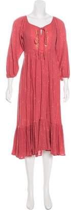 Miguelina Metallic Midi Dress
