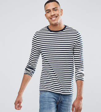 Asos Design DESIGN Tall stripe long sleeve t-shirt in navy and white