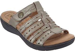 Earth Origins Leather Multi-Strap Slide Sandals- Alaina