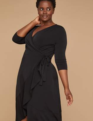 3/4 Sleeve Matte Jersey Wrap Dress