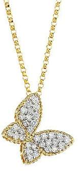 Roberto Coin Women's Princess Treasures 0.25 TCW Diamond, 18K Yellow Gold and 18K White Gold Butterfly Pendant Necklace
