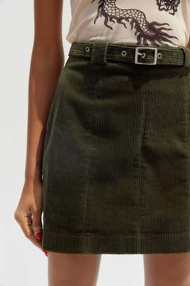 Urban Outfitters Franny Corduroy Belted Mini Skirt