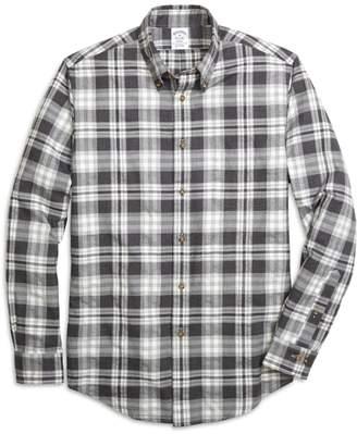 Brooks Brothers Regent Fit Flannel Heathered Multi Plaid Sport Shirt