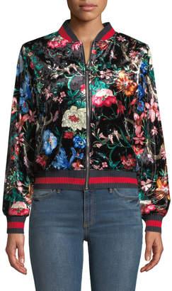 Stellah Asian Flower Print Velour Jacket