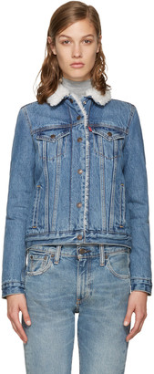 Levi's Blue Authentic Sherpa Denim Trucker Jacket $130 thestylecure.com