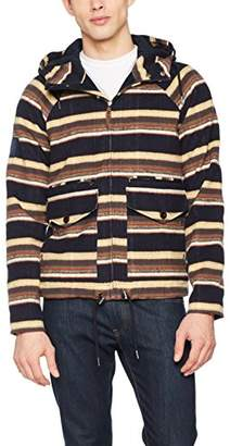 Pretty Green Mens Striped Overhead Jacket Coat,Medium