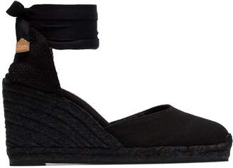 Castaner black Carina 80 ankle tie wedge sandals