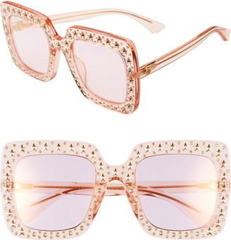 163e0b798 Gucci 52mm Crystal Embellished Square Sunglasses