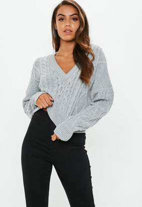 Missguided Gray V Neck Cable Knit Cropped Sweater