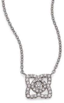 De Beers Enchanted Lotus Diamond& 18K White Gold Mini Pendant Necklace