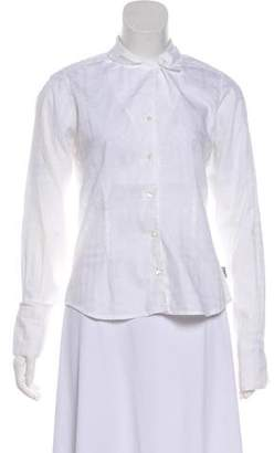Burberry Long Sleeve Button-Up Blouse