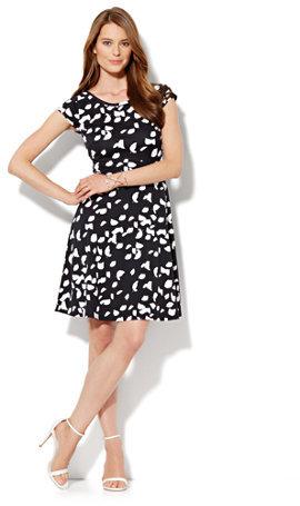 New York & Co. Cap-Sleeve Flare Dress - Abstract Print