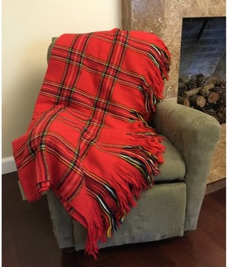 K-Cliffs Deluxe Knitted Throw Blanket Women Plaid Checkered Poncho Shawl Warm Fashion Cloak Cape Large Wrap Stylish Scotland Tartan Winter Long Scarf TH123 RED