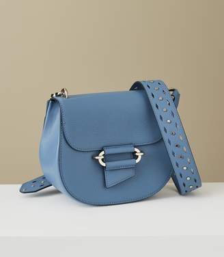 Reiss Maltby - Leather Cross-body Bag in Blue