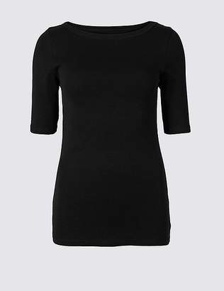 Marks and Spencer Pure Cotton Slash Neck Half Sleeve T-Shirt