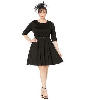Unique Vintage Plus Size Knit 1/2 Sleeve Fit Flare Dress