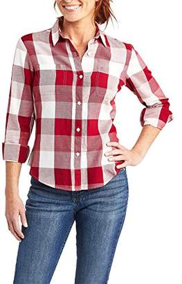 Lee Indigo Women's Long Sleeve Button Front Buffalo Plaid Shirt with 2 Pockets