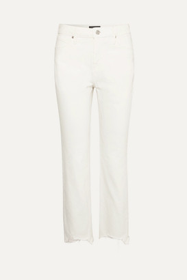 RtA Luke Frayed High-rise Straight-leg Jeans - White