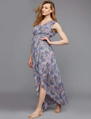 Ella Moss Pea Collection Wrap Maternity Maxi Dress