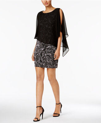 Connected Printed Chiffon-Capelet Dress $79 thestylecure.com