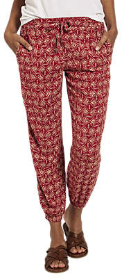 Fat Face Printed Cuffed Trousers, Deep Claret