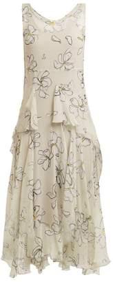 Isa Arfen Magnolia Print Silk Dress - Womens - White Print
