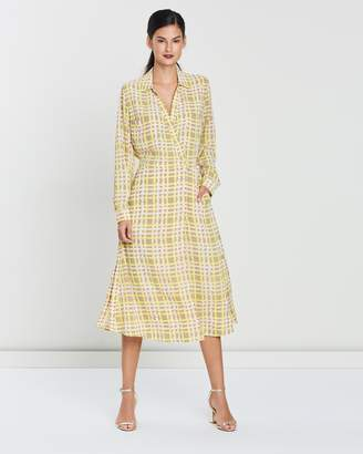 Whistles Painted Check Wrap Shirt Dress
