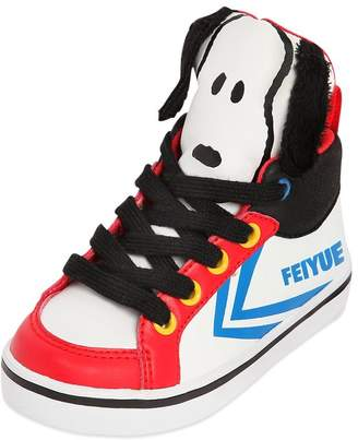 Feiyue Snoopy Printed Faux Leather Sneakers