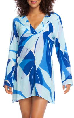 La Blanca Palm Reader Cover-Up Long Sleeve Tunic