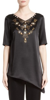 Women's St. John Collection Embellished Satin Top $895 thestylecure.com