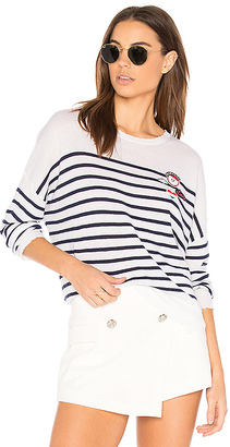 SUNDRY Patches Crew Neck Pullover in White $196 thestylecure.com