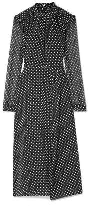 Markus Lupfer Colette Ruffled Printed Silk Midi Dress - Black