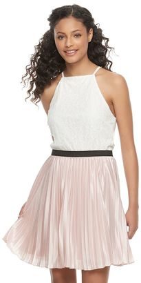Juniors' Speechless Pleated Halter Skater Dress $58 thestylecure.com