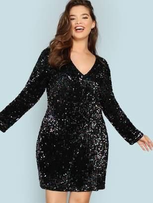 af1ed81142c Shein Plus V Neck Iridescent Sequin Dress