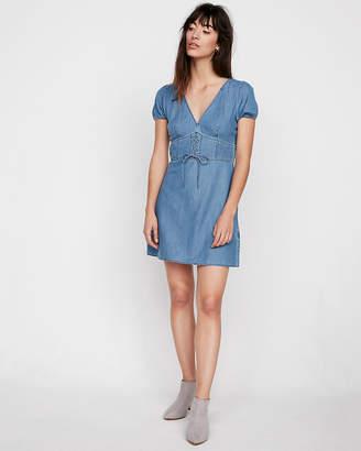 Express Puff Sleeve Denim Corset Dress