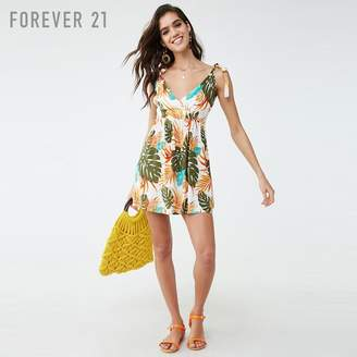Forever 21 (フォーエバー 21) - Forever 21 トロピカルリーフラップミニワンピース