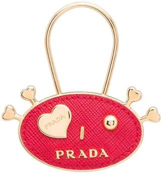 Prada Saffiano Leather and Metal Keychain