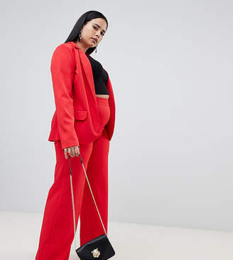 Missguided Plus tailored wide leg PANTS in red