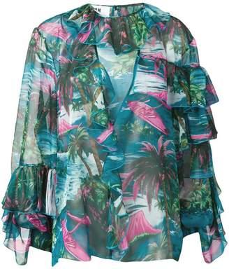 MSGM ruffled printed blouse